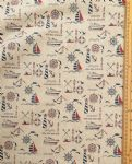 Nautical sailing Fabric UK 80% Cotton 20% Poly material upholstered feel - Price Per Metre